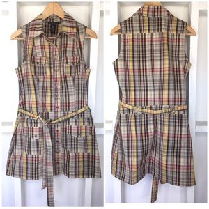 Grass Collection Plaid Sleeveless Tunic M